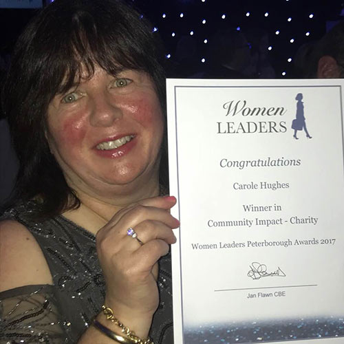 Carole winner of 2017 Peterborough Woman Leader – Community Impact